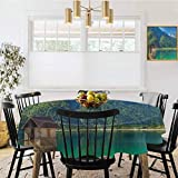 Diameter 70' Round Tablecloth,Predil Alpine Lake North Italy Slovenian Border Julian Alps Idyllic Scenery Sea Green Blue Ivory,Waterproof,Splash-Proof,Washable Nylon Tablecloth,
