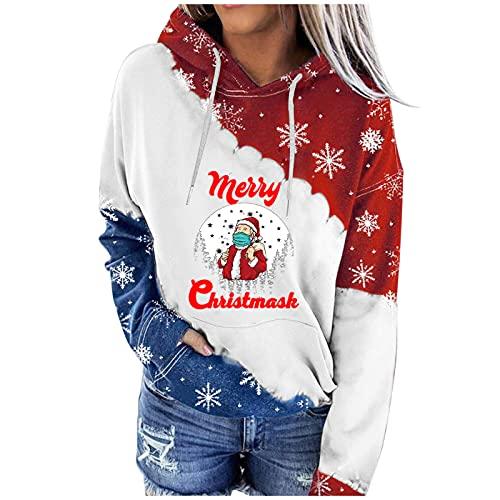 Berimaterry ropa de Navidad para mujer moda sudaderas con capucha de otoño invierno 2021 hoodies holgadas blusa elegante chandal con estampado de Christmas Xmas jersey manga larga camisetas baratos