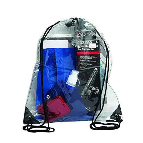 """Bags for Less Clear Drawstring Bag, Small Clear Bag For Stadiums, Sporting Events - 14"""" x 17"""" (Clear/Black)"""