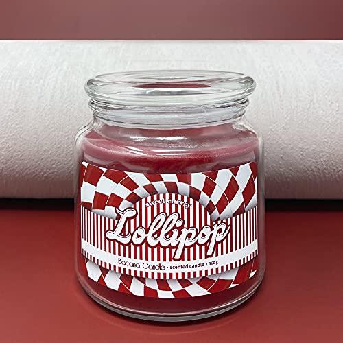 Bacana Candle - Vela Perfumada en Vaso - Vela Aromática en Frasco de Vidrio con Tapa - Vela Original para Regalo - 560 gramos, 80-110 Horas de Combustión - Lollipop