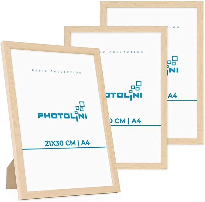 5451 opinioni per Photolini Set di 3 cornici per Foto da 21x30 cm/DIN A4 Modern Naturale in MDF