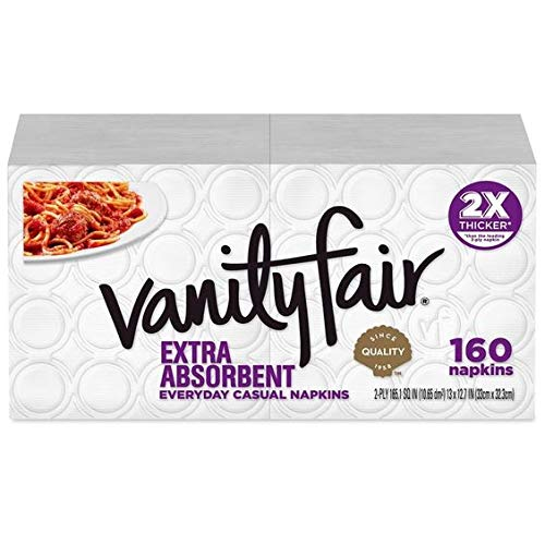 Vanity Fair Extra Absorbent Everyday Disposable Paper Napkins, White, 160 Ct