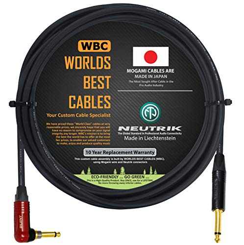 12 Foot - Guitar Bass Instrument Cable Custom Made by WORLDS BEST CABLES – Using Mogami 2524 Wire and Neutrik NP2RX-AU-SILENT & Neutrik NP2X-B ¼ Inch (6.35mm) TS Plugs