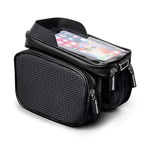 Tuff4ever Bike Frame Bag with Phone Holder, Waterproof Bike Accessories Large Capacity Bike Pouch Bag with Touch Screen Bike Phone Bag with Sun Visor for iPhone Samsung Other Smartphone Below 6.5'