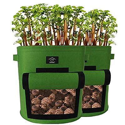 Laxllent Sacs de Plantation de Jardin,2PCS 9 Gallons Sac de Legumes, Tissu Non-tissé Sac de Plantation de Pommes de Terre à Fenêtre (2, Vert)