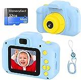Fotocamera per Bambini Fotocamera Digitale Portatile con Scheda SD 32 GB TF Card HD da 2 Pollici 1080P Mini Ricaricabile Videocamera per Giocattoli Regalo Ragazzi Ragazze da 3 a 12 Anni (Blu)