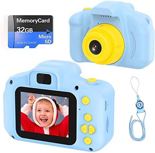 Fotocamera per Bambini Fotocamera Digitale Portatile con Scheda SD 32 GB TF Card HD da 2 Pollici 1080P Mini Ricaricabile Selfie Videocamera per Giocattoli Regalo Ragazzi Ragazze da 3 a 12 Anni (Blu)
