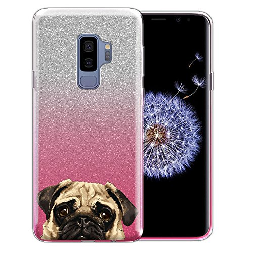 WIRESTER Case Compatible with Samsung Galaxy S9 Plus 6.2 inch, Shiny Sparkling Silver Pink Gradient 2 Tone Bling Glitter TPU Protector Cover Case for Galaxy S9 Plus - Pug Puppy Dog