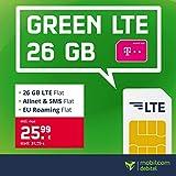 mobilcom-debitel Telekom Handyvertrag Green LTE 26 GB - Internet Flat, Allnet Flat Telefonie & SMS-Flat in alle Deutschen Netze, EU-Roaming, 24 Monate Laufzeit