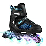 Caroma Kids Roller Blades, Fun Flashing Kids Rollerblades,Adjustable Roller Skates for Kids,Inline Skates Shoes with Full Light Up Wheels,Boys Rollerblade,Girls Roller Blades.(Blue, L(US 5-8))