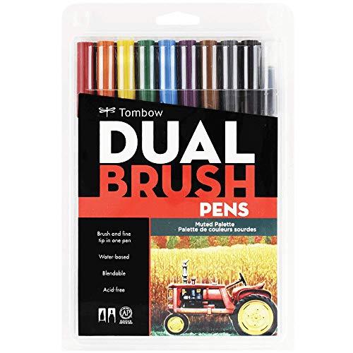 Estojo Dual Brush com 10 Canetas Pincéis, Cores Suaves