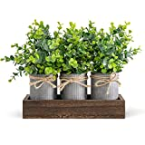 Dahey Decorative Galvanized Metal Pots Centerpiece Decor Wood Tray with Artificial Flowers, 3 Buckets with Eucalyptus, Rustic Farmhouse Home Decor for Coffee Table Dining Room Living Room Kitchen Bath