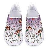 UOIMAG, Zapatos de Enfermera morados, Regalo para Mujer, Zapatos Casuales sin Cordones, Zapatos de Malla Transpirables, Zapatillas Deportivas Planas 38EU