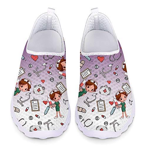 UOIMAG, Zapatos de Enfermera morados, Regalo para Mujer, Zapatos Casuales sin Cordones, Zapatos de Malla Transpirables, Zapatillas Deportivas Planas 39EU