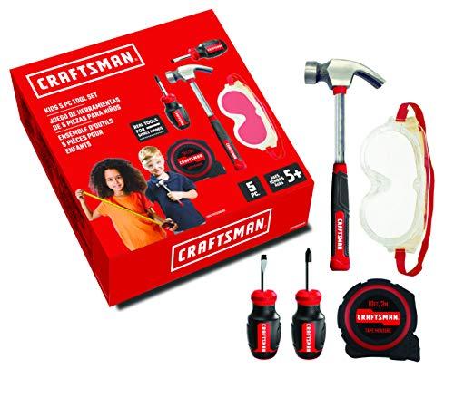 Set 4 - 5 pc. Toolset PH Mini Screwdriver, Flat Mini Screwdriver, Hammer, Tape Measure, Safety Goggles