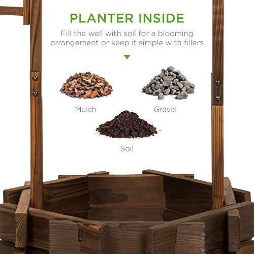 Best Choice Products Rustic Outdoor Wooden Wishing Well Planter Home Décor w/Hanging Bucket