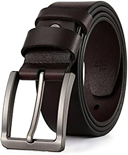 Men's Leather Belt, Jeans Belt, Heavy Duty Classic Dress Belt Cow Leather Causal Belt with Classic Buckle