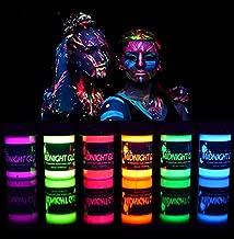 Midnight Glo Black Light Paint UV Neon Face & Body Paint Glow Kit (6 Bottles 0.75 oz. Each) - Blacklight Reactive Fluorescent Paint - Safe, Washable, Non-Toxic