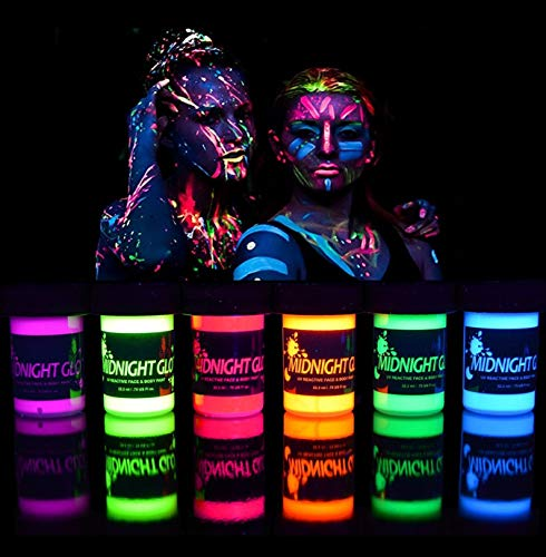 Midnight Glo Black Light Paint UV Neon Face & Body Paint Glow Kit (6 Bottles 0.75 oz. Each) - Blacklight Reactive Fluorescent Paint - Safe, Washable, Non-Toxic