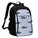 IUBBKI Borsa porta computer USB zaino Sharks and Ocean Waves Office & School Supplies with USB Data Cable and Music Jack Laptop Bags Computer Notebook 18.1X13.3 inch
