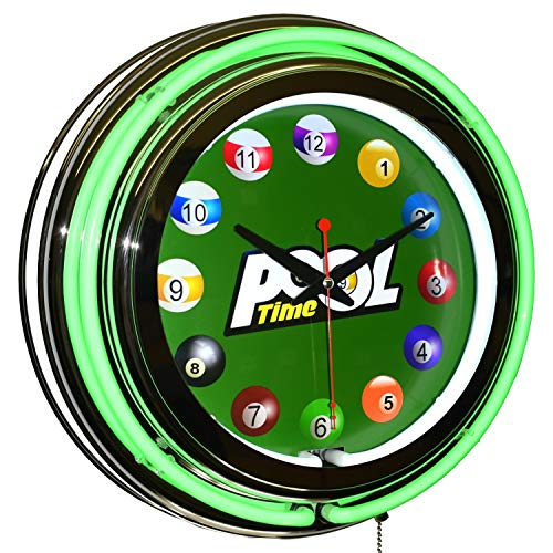 Pool Time Billiards 15  Green Double Neon Clock Game Room Man Cave Decor