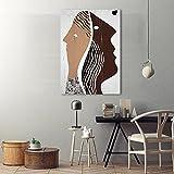 SHKJ Retro Abstracto romántico Pareja Cabezas Pared Arte Cartel Grabado y galería decoración de Dormitorio 50x70 cm / 19,7'x 27,6' Sin Marco