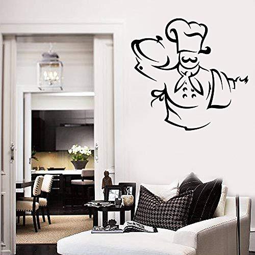 Jsnzff Vinilo Chef Etiqueta de la Pared Chef Sombrero Delantal Toalla apetito Etiqueta de la Pared Restaurante decoración de la Cocina 96x100 cm
