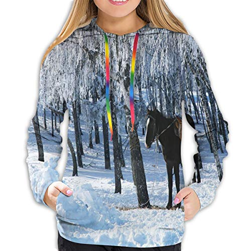 Women's Hoodies Tops,Horse Between Trees In Winter Forest Frozen Woods ICY Land Nature Picture,Lady Fashion Casual Sweatshirt(L)