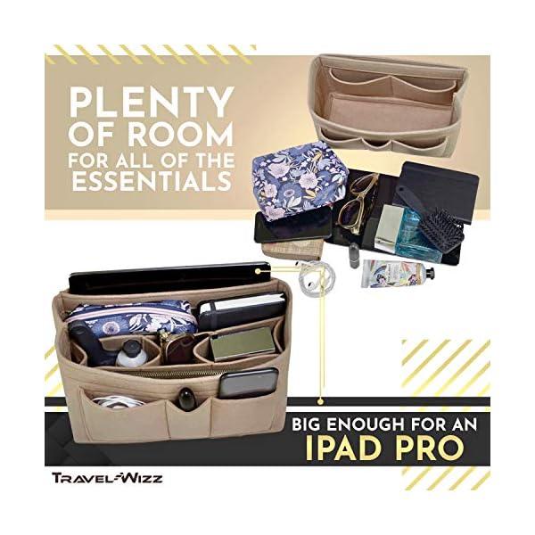 Handbag Organizer – 2in1 Purse Organizer Insert with Inner Zipped Pocket – Tote Shaper fits Speedy Neverfull