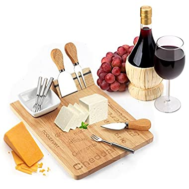 Cheese Board Set - Set Includes 3 Piece Cheese Knife Set & 4 Small Cheese Serving Forks - Plus Porcelain Dish for Sauces & Condiments by Decodyne