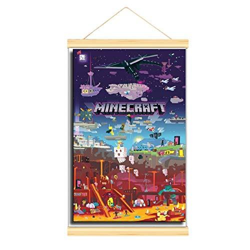 WPQL The Game Minecraft-Leinwand-Hängendes Bild, personalisiertes Poster aus Holz, zum Aufhängen im Schlafzimmer, das physische Produkt hat keinen weißen Rahmen, es ist perfekt