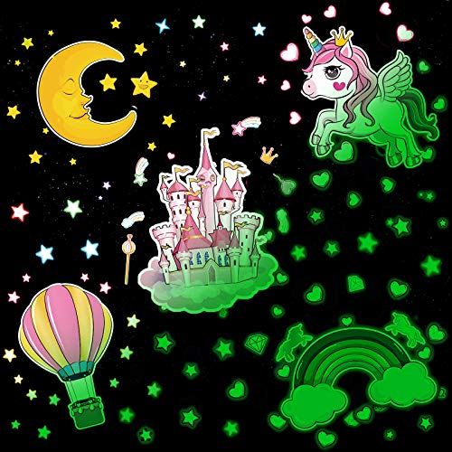 156 Pieces Unicorn Wall Stickers Glow in The Dark Stickers Unicorn Castle Balloon Moon Rainbow and Stars Wall Decals for Kids Bedroom