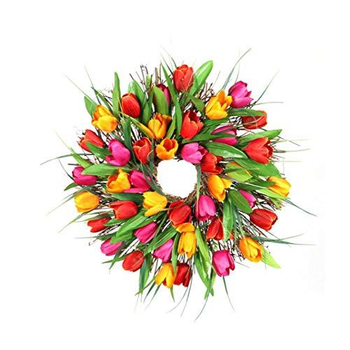 TOPofly Garland Puerta Flor de la simulación Artificial del tulipán de la Guirnalda con Hojas Verdes Flores de cumpleaños para Wall Boda Puerta Decoración 40cm