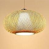 Lámpara de araña nórdica, pantalla ratán hecha a mano estilo vintage, lámpara colgante linterna Redonda, natural lámpara de bambú acrílico blanco, E27 luz colgante sala de estar dormitorio casa de té