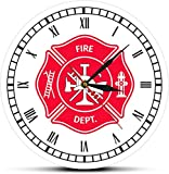 Relojes De Pared Bombero Cruz De Malta Reloj Vintage Primer Respondedor Insignia Del Departamento De Bomberos Logotipo Reloj De Pared Con Números Romanos Bomberos Regalos Decorativos Para Cocina