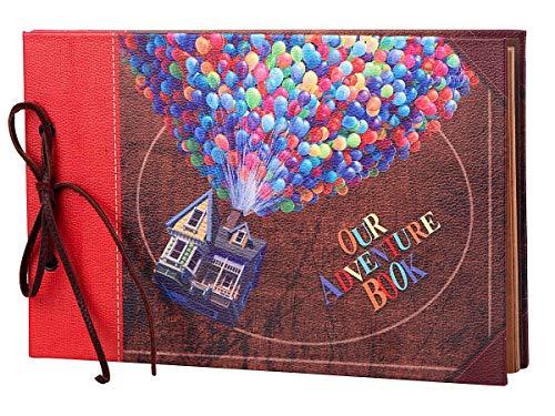 LINKEDWIN Nuestro libro de aventuras con Balloon House, our adventure book, álbum de álbum de recortes vintage con temática de cuero, libro de visitas de boda, cartulina artesanal retro, 60 páginas