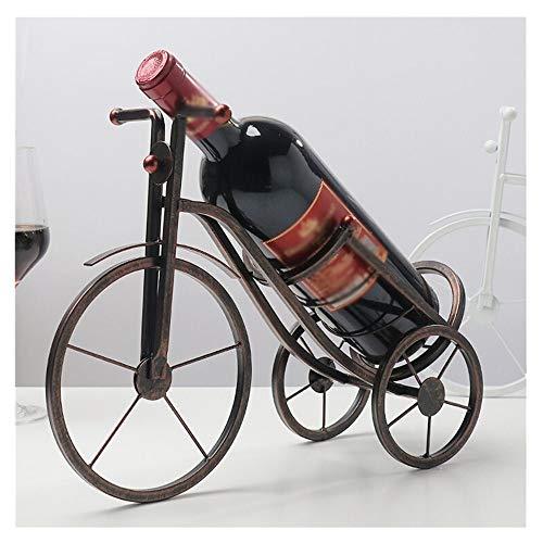 XLGX Porte-Bouteille de Vin Décoratif - Sculpture en Métal - Idée Cadeau - 30.6x12x25.5cm,Tricycle en Fer Porte-Bouteilles Lourd Décoration d'art (Marron)