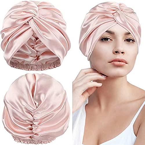22 Momme 100% Maulbeerseide Schlafmütze für Frauen Haarpflege,Doppelseitige Naturseide Haarwickel zum Schlafen, Personalisierte Geschenke,STANDARD 100 by OEKO-Zertifizierung (1 Stück, Pink)