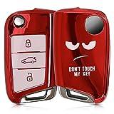 kwmobile Accessoire Clef de Voiture Compatible avec Clef de Voiture VW Golf 7 MK7 3-Bouton - Coque de Protection en Silicone Don't Touch My Key Blanc-Rouge Haute Brillance