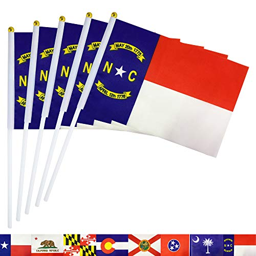 TSMD North Carolina State Stick Flag,50 Pack Small Mini Hand Held North Carolina NC Flags Banner On Stick,Party Decorations Supplies for Parades,School Sports Event,International Festival Celebration