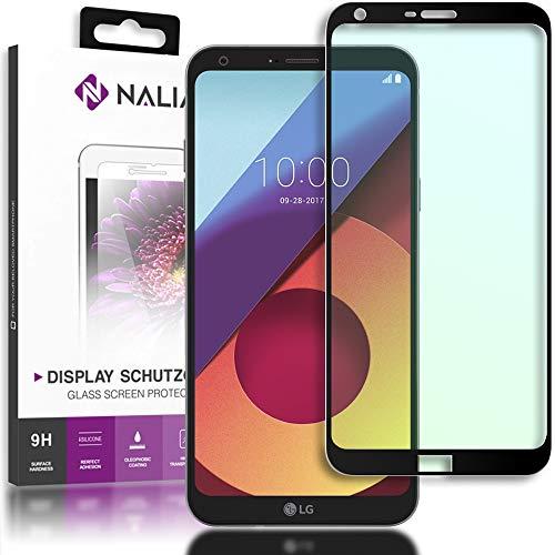 NALIA Cristal Templado Compatible con LG Q6, Vidrio Blindado Película Protectora Display Cobertura, 9H Dureza Film Protector de Pantalla Movil Telefono Celular Tempered-Glass - Transparente (Negro)