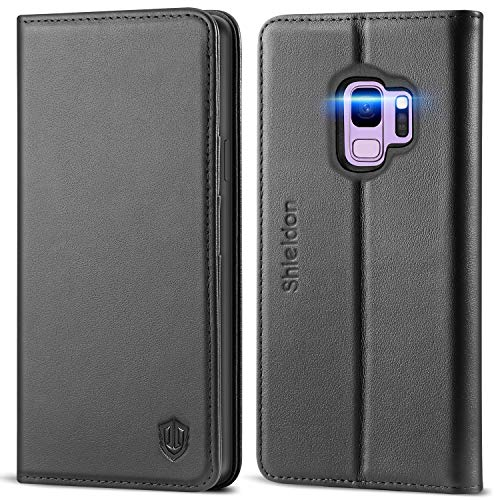 SHIELDON Galaxy S9 Case, Genuine Leather Premium Galaxy S9 Wallet Case Folio Cover Stand Feature with Credit Card Slots Full Protection Case Compatible with Samsung Galaxy S9 5.8 Inch - Black