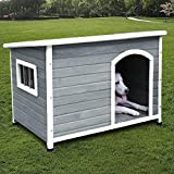 ROCKEVER Wood Dog Houses Outdoor Insulated, Weatherproof Dog Houses Outside with Door Cute Wooden (for Large Dogs, Light Grey)
