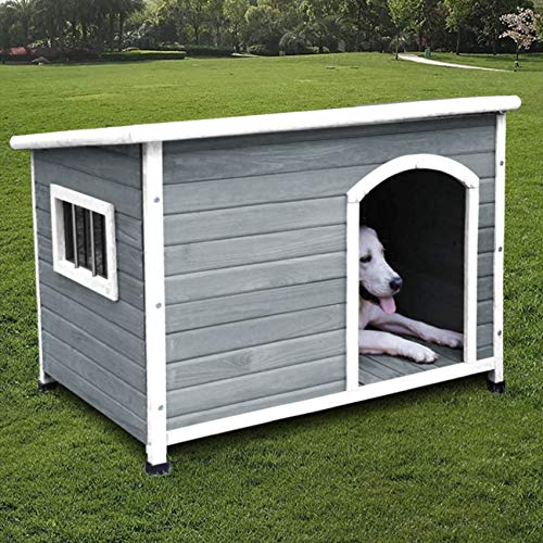 ROCKEVER Wood Dog Houses Outdoor Insulated, Weatherproof Dog Houses Outside with Door Cute Wooden (for Large Dogs, Light Grey). Buy it now for 189.00