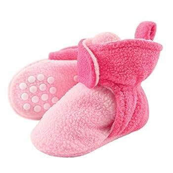Luvable Friends Unisex Baby Cozy Fleece Booties Light Pink Dark Pink 0-6 Months US