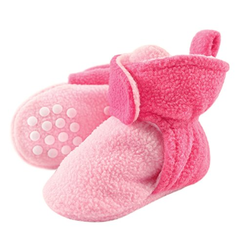 Luvable Friends Unisex Baby Cozy Fleece Booties, Light Pink Dark Pink,...