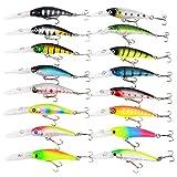 16Pcs Kits de señuelos para Pesca, LAEMALLS Cebos Artificiales de Pesca Cebo Duros/Suaves, Ojos 3D,...