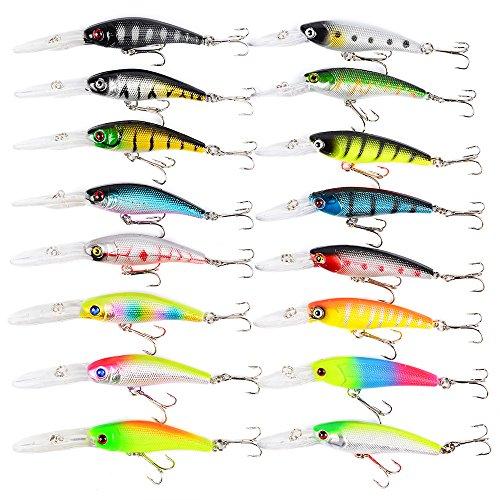 16Pcs Kits de señuelos para Pesca, LAEMALLS Cebos Artificiales de Pesca Cebo Duros/Suaves, Ojos 3D, Accesorios Cebos Articulos de Pesca para la Pesca, Trucha, Bagre, Bass, Salmón y Lucio#6