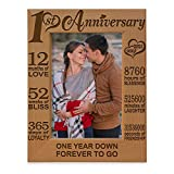 KATE POSH - Our 1st Anniversary Picture Frame - 12 Months Engraved Natural Wood Photo Frame - First (1st), Paper, 1 Year as Husband and Wife (4x6-Vertical)