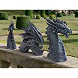 Large Dragon Gothic Garden Decor Statue - The Dragon of Falkenberg Castle Moat Lawn Statue, Garden Sculptures & Statues, Funny Outdoor Figurine, Yard Art,Frost and Winter-Resistant Ornaments for Patio